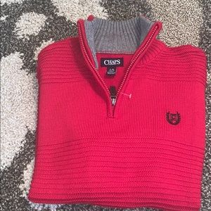 Chaps zipper pull red sweater